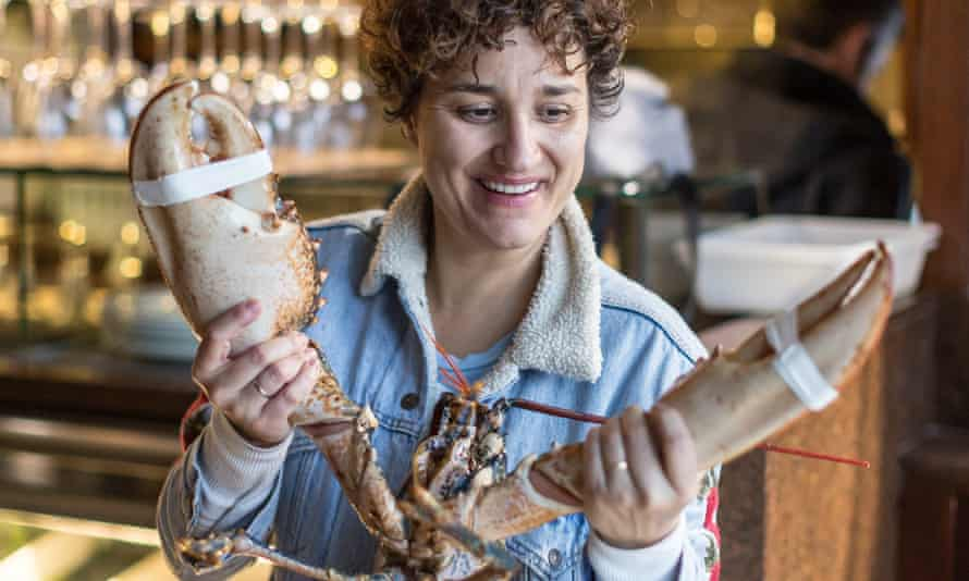 Nieves with a lobster at d'Berto.