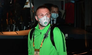 Ludogorets defender Cosmin Moti in a face mask before their Europa League game against Inter in Milan, which will be played behind closed doors.