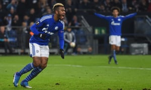 Eric Maxim Choupo-Moting celebrates scoring the goal which saw off Apoel Nicosia and booked Schalke's place in the last 32 of the Europa League.