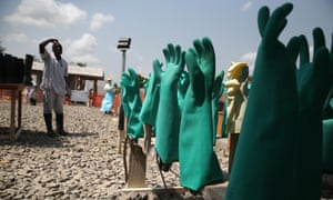 Photograph of protective gloves drying