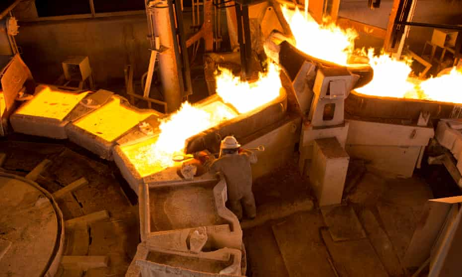 The copper smelter at the Mopani Mines sites at Mufulira