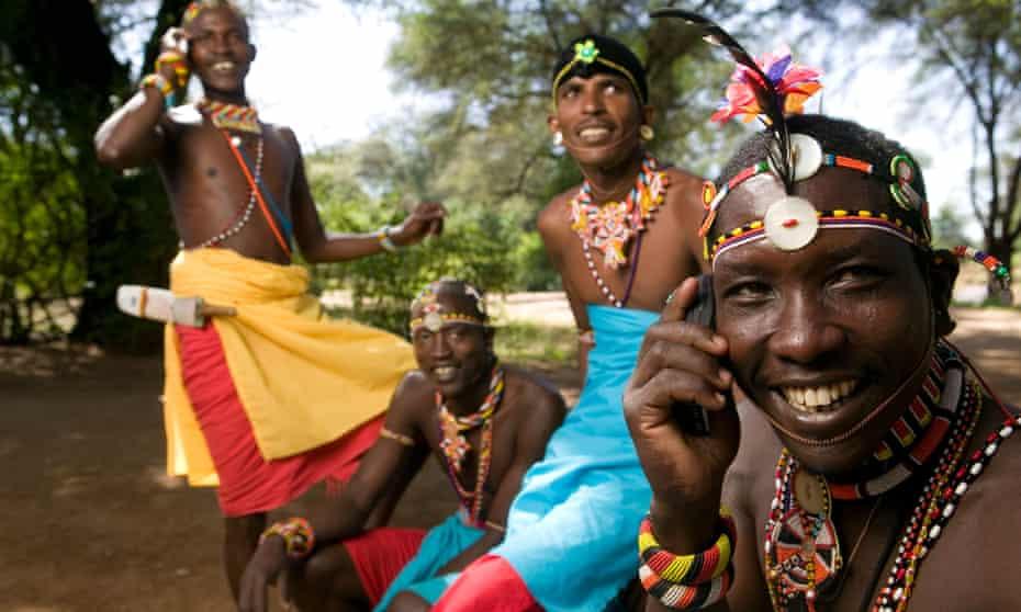 Tribesmen in Samburu national reserve in Kenya's Rift Valley