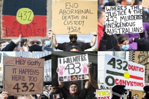 Black Lives Matter signs showing the number of Aboriginal deaths in custody.