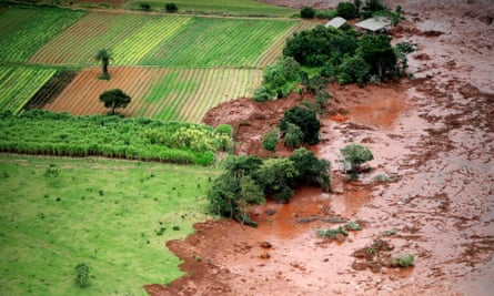 Aerial view over mud and waste from the disaster caused by a dam spill in Brumadinho, Minas Gerais, Brazil, on 26 January 2019.