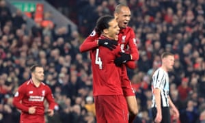 Liverpool's Fabinho (right) celebrates scoring his side's fourth goal of the game with Virgil van Dijk.