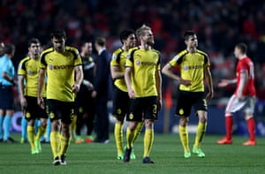 Sokratis and Andre Schuerrle of Dortmund look dejected at the end of the match.