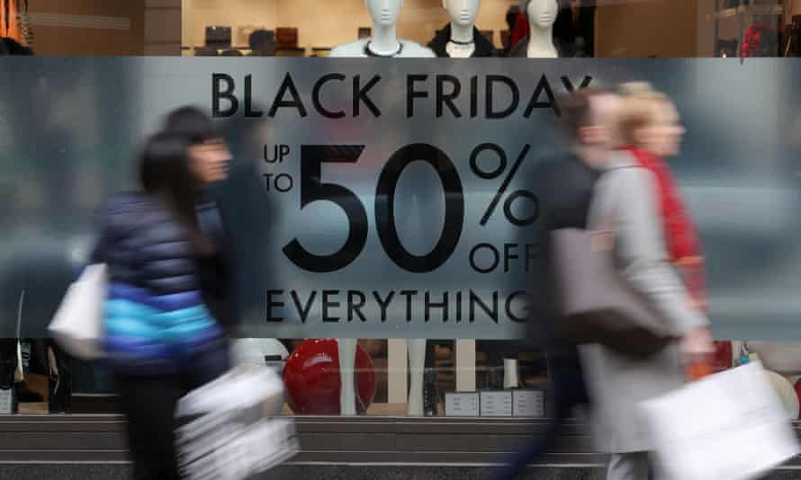 Black Friday sign in Oxford Street shop window