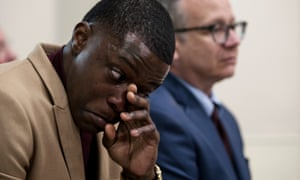 James Shaw Jr listens and wipes tears at a press conference in Nashville on 22 April.