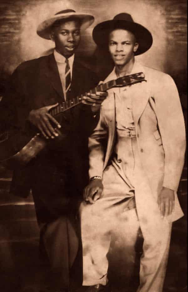 Legendary American bluesmen Robert Johnson, left, and Johnny Shines, circa 1935