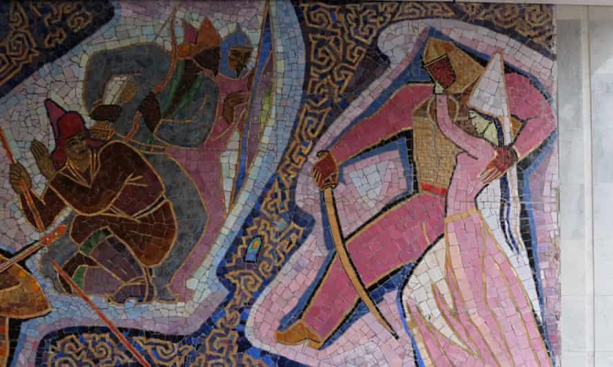 Detail of the 1965 Enlik-Kebek mosaic on the outside of the Hotel Almaty, Kazakhstan.