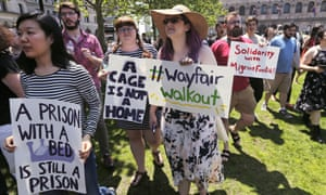 Employees of Wayfair march to Copley Square in protest in Boston, Wednesday.