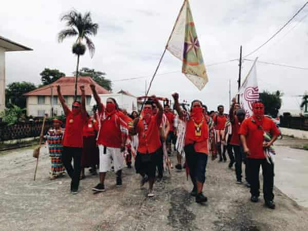 An indigenous protest against industrial mining.