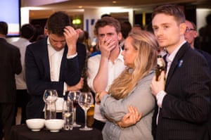 Campaigners await the referendum results at the Royal Festival Hall in London