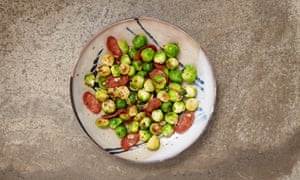 Gill Meller's sprouts with chorizo, garlic and caraway.