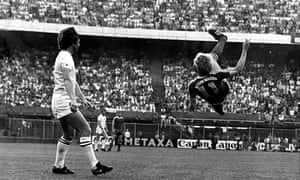 Karl-Heinz Rummenigge goes close with an overhead kick.