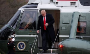 Donald Trump steps out of the Marine One helicopter as he returns to the White House after the release of Barr's summary of Mueller's report.