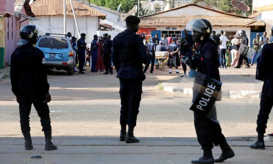 Members of Gambia's army forces in Banjul last week.