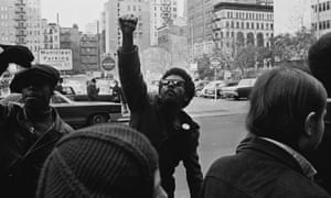 A man at a protest against the incarceration of members of the Black Panthers in New York in 1969.