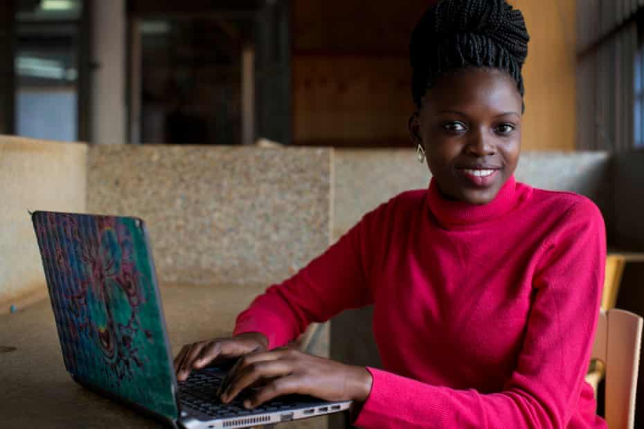 Margaret Aoko runs an online tech company called Papshop in the SHOFCO communal working space in Kibera