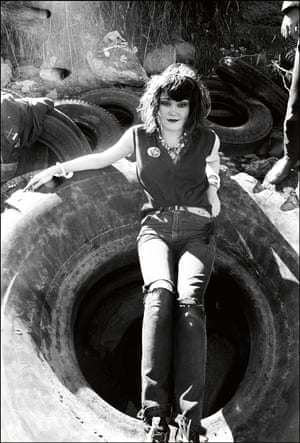Exene Cervenka, poet and singer of LA band X finds repose at the tire dump on the shores of the San Francisco Bay.