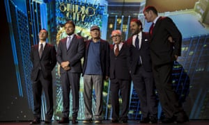 Lawrence Ho, Leonardo DiCaprio, Robert De Niro, Martin Scorsese, Brett Ratner and James Packer after a news conference in Macau in 2015