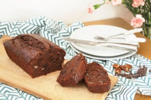 Bryony Bowie's banana pecan loaf cake studded with cacao nibs.