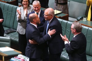 Josh Frydenberg is congratulated by the prime minister Scott Morrison after he delivered the 2019 Budget in the house of representatives chamber of Parliament House, Canberra this evening.