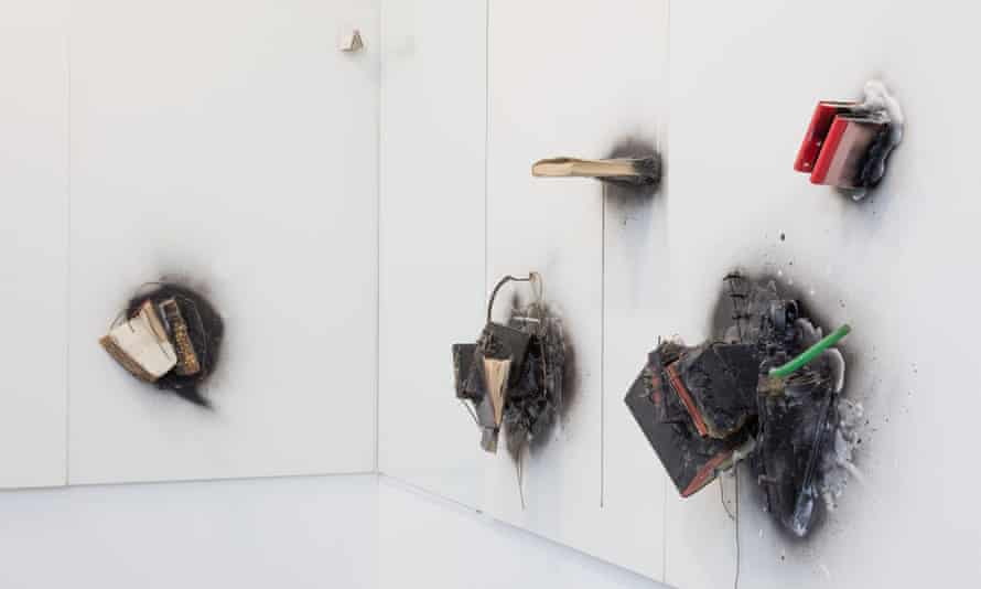 Burnt offerings … an installation in A World View: John Latham at the Serpentine gallery.