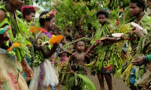 Tavolo villagers perform customary welcome prayer in Papua New Guinea