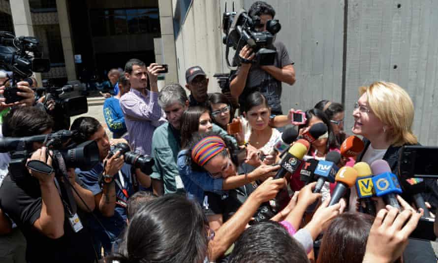 Venezuela's dismissed chief prosecutor Luisa Ortega speaks to the press.