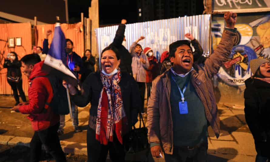 Supporters of Luis Arce celebrate after general elections in La Paz, Bolivia, on 19 October.
