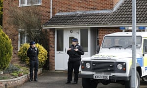 Police officers outside Sergei Skripal's house last month.