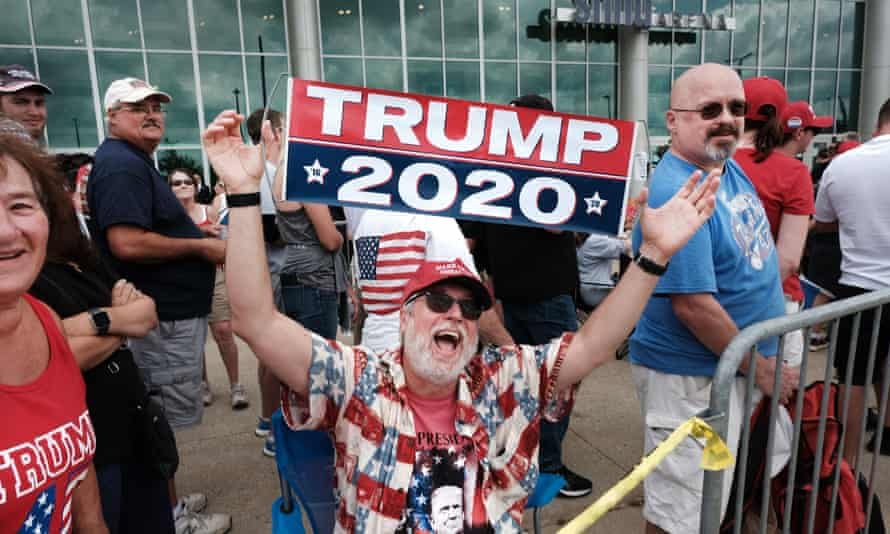Donald Trump supporters before a rally in Manchester, New Hampshire, 15 August 2019.