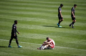 Erik Pieters reacts as Stoke are relegated.