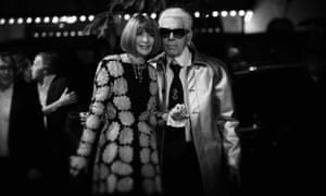 With Karl Lagerfeld at the British fashion awards in London, 2015.