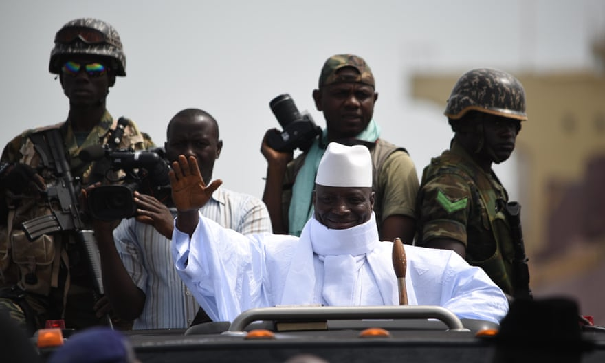 Yahya Jammeh campaigning in Farafenni, near the border with Senegal, May 2016