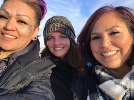From left: Kristen Tuske, Alicia Custer and Holly Young at Standing Rock.