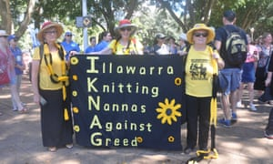 The Illawarra Knitting Nannas Against Greed (L to R): Annie Marlow, Anne Dillon and Cherry Hardaker.