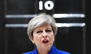 Theresa May giving a statement outside No 10 Downing Street.