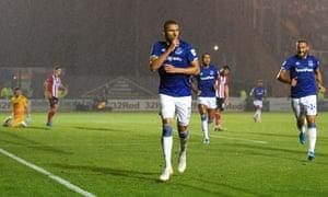 Richarlison of Everton celebrates after scoring his team's fourth goal.
