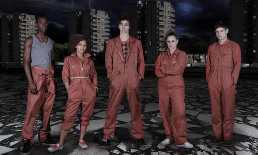 More than a 'superhero Skins' ... Nathan Stewart-Jarrett, Antonia Thomas, Robert Sheehan, Lauren Socha and Iwan Rheon in Misfits.