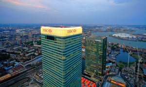 View from the Canary Wharf tower in London's financial district.