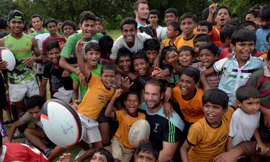Harlequins players visit the Future Hope team in Kolkata.