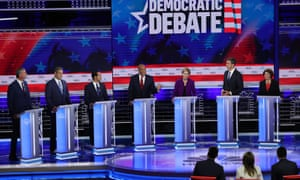 Democratic presidential candidates participate in first 2020 debate hosted by NBC News, MSNBC, and Telemundo.