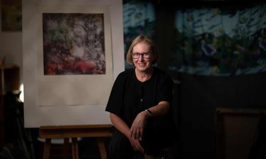 Allison Barnes, with some of her artwork, at her home in Canberra