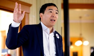 Andrew Yang speaks during a campaign stop in Jefferson, Iowa on 1 February.