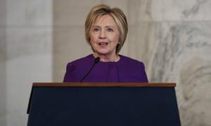 Hillary Clinton speaks on 8 December 2016 in Washington.