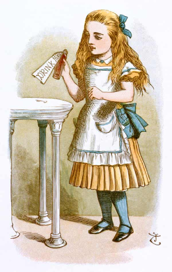 Lysergic Alice Diethylamide … Alice about to sample Lewis Carroll's mind alterer drawn by Sir John Tenniel.