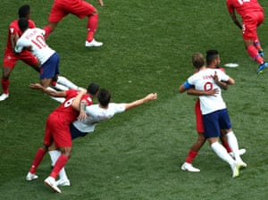 England's Harry Kane, Raheem Sterling and Harry Maguire are wrestled by Panamanian defenders in Nizhny Novgorod.