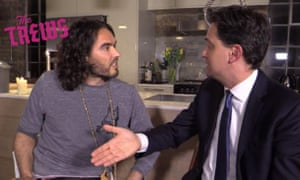 Ed Miliband meeting with comedian Russell Brand.